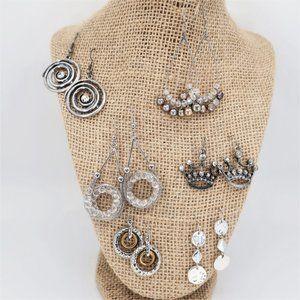 Six Pairs of Fish Hook Silver Tone Earrings